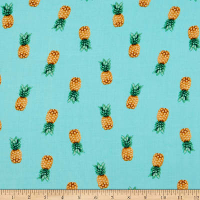 Fabtrends Rayon Soleil Pineapple Photo Aqua