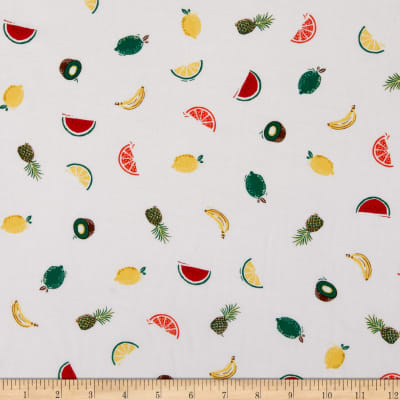 Fabtrends Rayon Soleil Tropical Fruits White