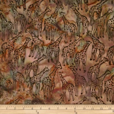 Batik by Mirah Rustic Route Giraffes Nougat Brown