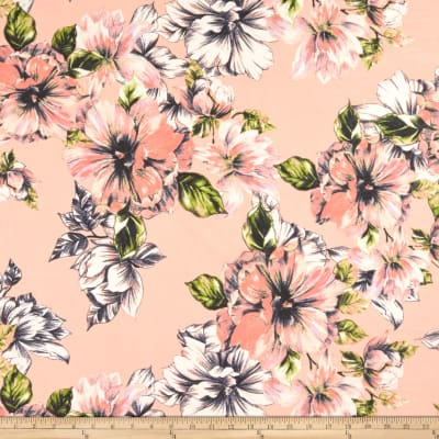 Sketched Floral Print Chiffon Pale Pink/Navy/Multi