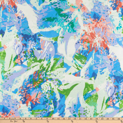 Abstract Watercolor Print Satin-back Shantung Blue/Lime/Coral/Multi