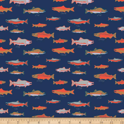 Riley Blake Northwest Salmon Navy