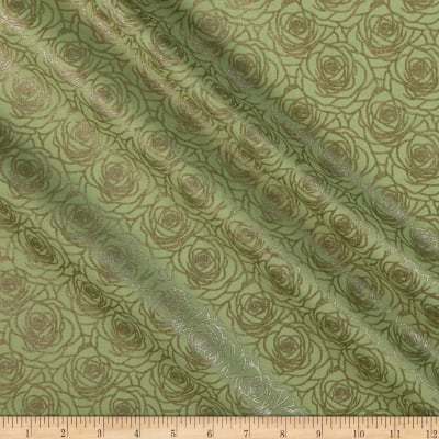Benartex A Festival of Roses Outline Roses Medium Green