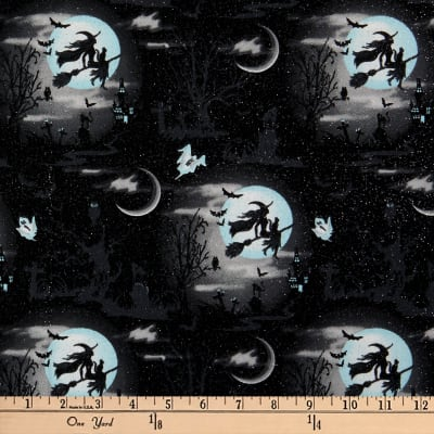 Fabric Traditions Halloween Witches Cotton With Glitter