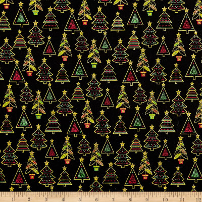 Fabric Traditions Holiday Trees With Glitter Multi