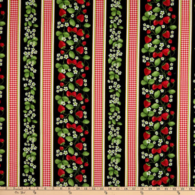 Timeless Treasures Strawberry Patch Border Stripe Black