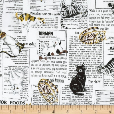 Kaufman Whiskers & Tails Cats on Newprint White