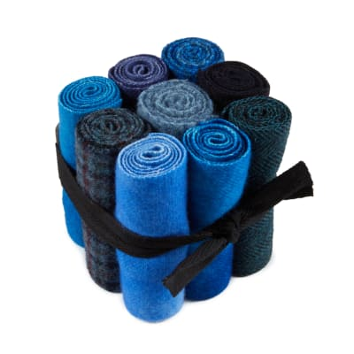 """In The Patch Designs Pre-Felted Hand Dyed Wool Cube O Curlers 4""""x16"""" Blues 9 Pcs"""