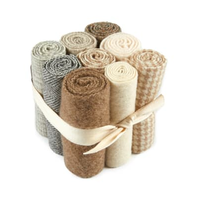 """In The Patch Designs Pre-Felted Hand Dyed Wool Cube O Curlers 4""""x16"""" Neutral 9 Pcs"""