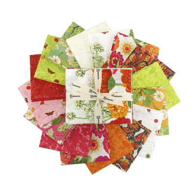 Clothworks Zinnias In Bloom Fat Quarter 16 pcs