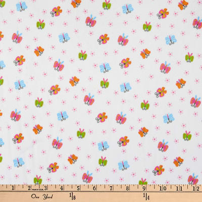 Michael Miller Minky Puppy Playtime Wings & Blossom White