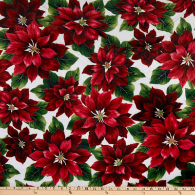 Shannon Hoffman Digital Minky Cuddle Red Poinsetta Natural/Gold