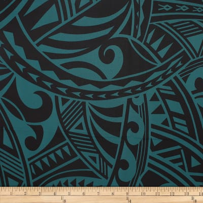 Trans-Pacific Textiles Rayon Challis Tribal Force Jade