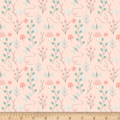 """Exclusive Fabric Editions 36"""" x 42"""" Pre-Cut Coral Woodland Flora Flannel"""