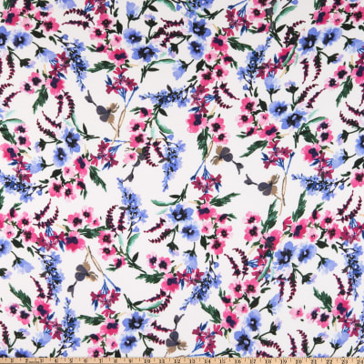 Double Brushed Poly Jersey Knit Watercolor Floral Garden Ivory/Pink