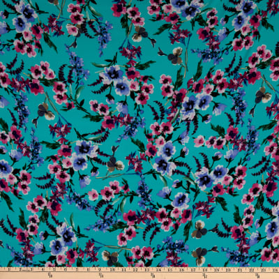Double Brushed Poly Jersey Knit Watercolor Floral Garden Mint/Pink