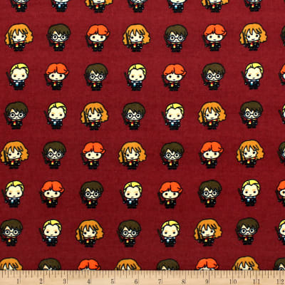 Harry Potter Lined Up Kawaiis Bamboo Flannel Burgundy