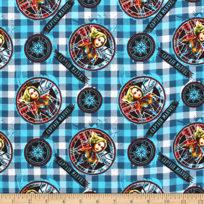 Marvel Captain Marvel Sketched On Plaid Flannel Cyan
