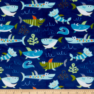 Exclusive Shannon Studio Digital Minky Cuddle Sharkies Sea