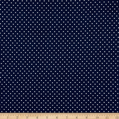 Fabric Merchants Double Brushed Poly Jersey Knit Pin Polka Dot Navy/Ivory