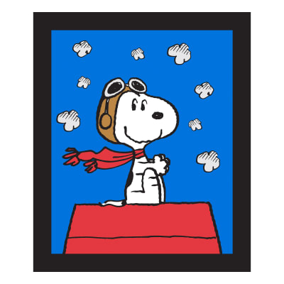 """Peanuts Snoopy Red Baron 36"""" Panel Blue"""