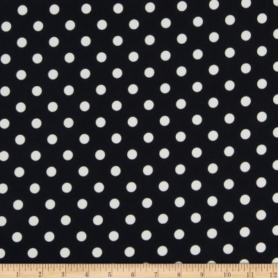 Fabric Merchants Double Brushed Poly Jersey Knit Polka Dot Black/Ivory