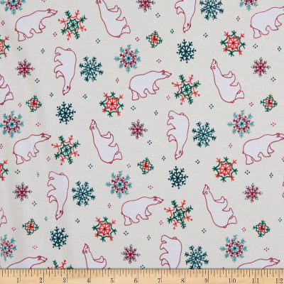 Girl Charlee Cotton Jersey Knit Polar Bear Snowflakes On Ivory