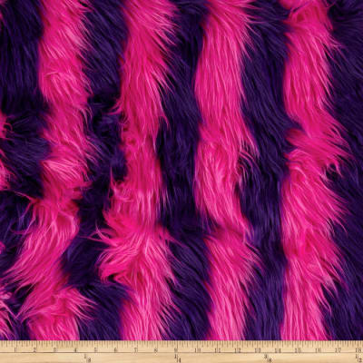Shannon Fun Shag Faux Fur Ribbon Stripes Hot Pink/Purple