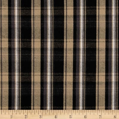 Cotton Shirting Plaid Black/Khaki