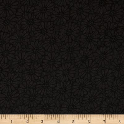 "110"" Wide Quilt Backing Daisies Black"