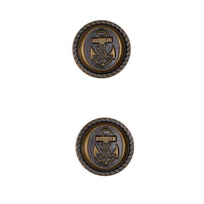 "Metal Button 3/4"" Navy Club Antique Brass"