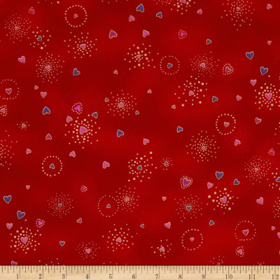 Laurel Burch Basics Hearts Red Metallic