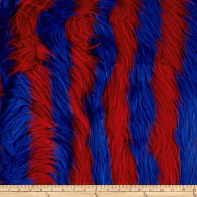 Fun Shag Faux Fur Ribbon Stripes Fire/Blue