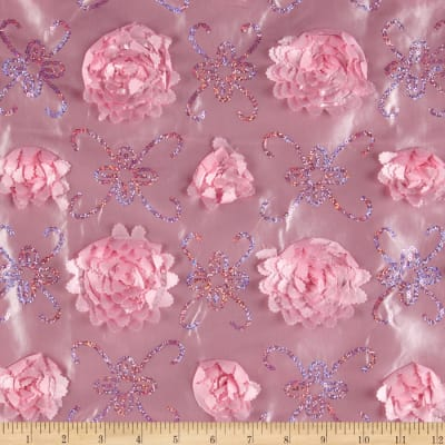 Stunning Sequined Rosette Satin Pink