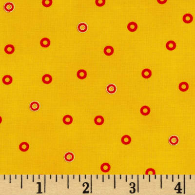 Laurel Burch Basics Circles Yellow Metallic