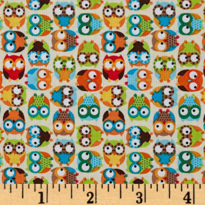 Timeless Treasures Mini Owls Beige