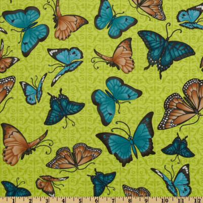 Butterfly Bliss Butterflies Allover Green