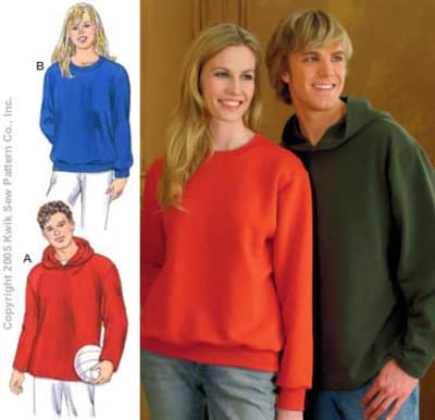 Kwik Sew Learn To Sew Unisex Sweatshirts & Hoodie Pattern