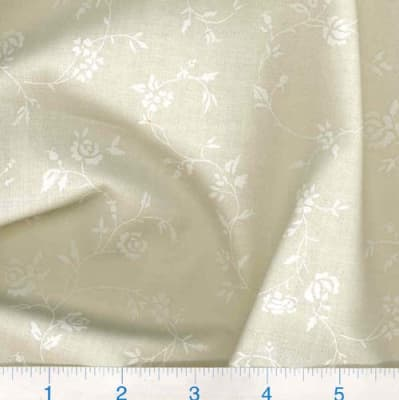 "108"" Quilt Backing Tone on Tone Floral White/Ivory"