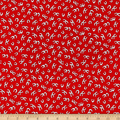 Michael Miller Horseshoes Fabric in Red