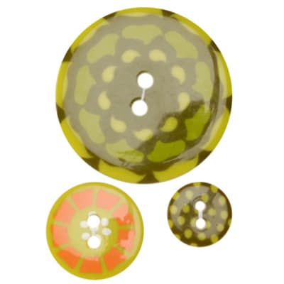 Fashion Buttons 1/2'', 3/4'', 1 3/8'' Coordinates Kaleidoscope Lime/Orange