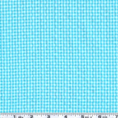 Woven Poly/Cotton Seersucker Gingham Turquoise