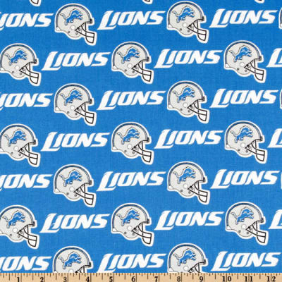 NFL Cotton Broadcloth Detroit Lions Blue/White/Grey