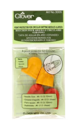 Clover Large Point Protector For Circular Knitting Needles, 4/pkg