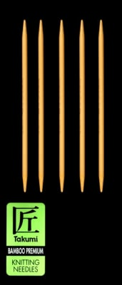 Clover Takumi Bamboo Premium Knitting Needles Double Pt. 7'' US 8 (5mm)