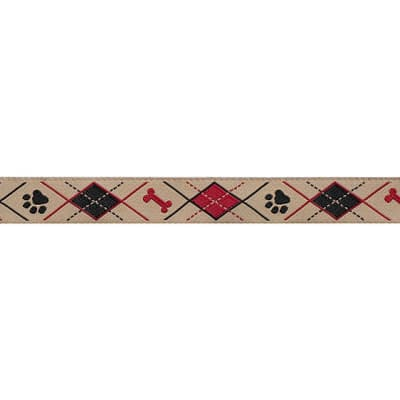 "5/8"" Ribbon Doggy Argyle Red/Black"