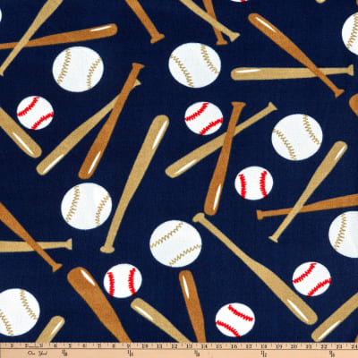 Sports Fleece Baseball Balls And Bats Navy Discount