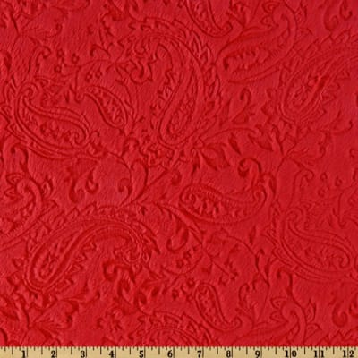 Shannon Minky Cuddle Embossed Paisley Red