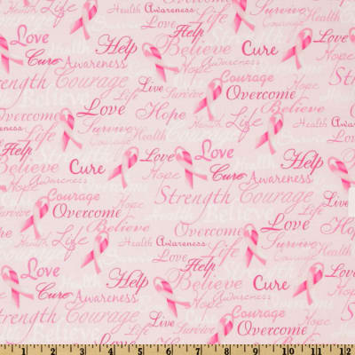 Timeless Treasures Ribbons Of Hope Pink