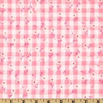 Woven 1/4'' Daisy Gingham Pink